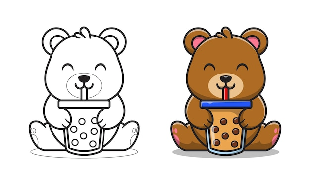 Cute bear drinking bubble tea cartoon for coloring