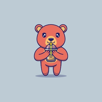 Cute bear drinking a cup of coffee