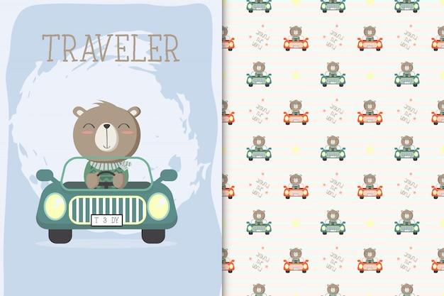 Cute bear driving a car and seamless pattern