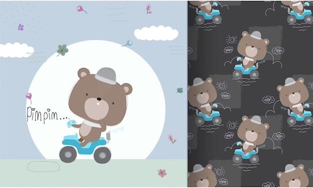 Cute bear driving car seamless pattern