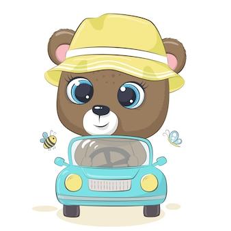 Cute bear driving the car.