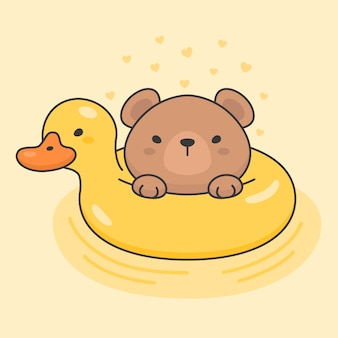 Cute bear in a duck life ring