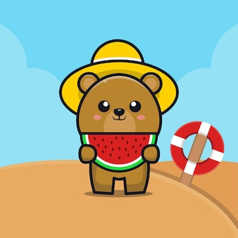 Cute bear eat watermelon on the beach cartoon   illustration