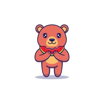 신선한 수박을 먹는 귀여운 곰