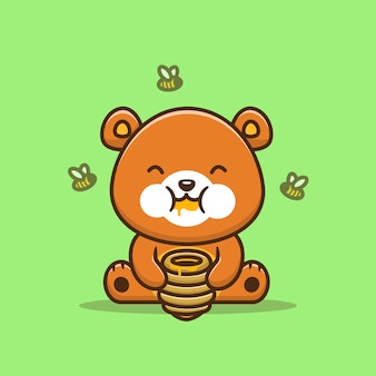 Cute bear eating honey with bee cartoon icon illustration. animal food icon concept isolated premium . flat cartoon style