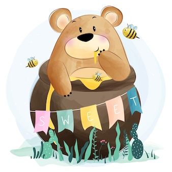 Cute bear eating honey