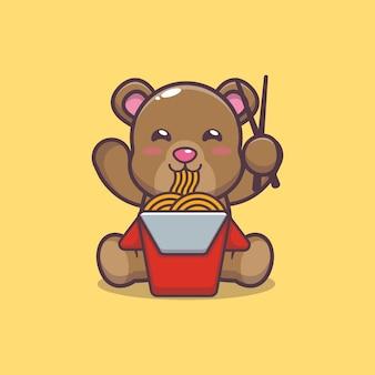 Cute bear eating noodle cartoon vector illustration
