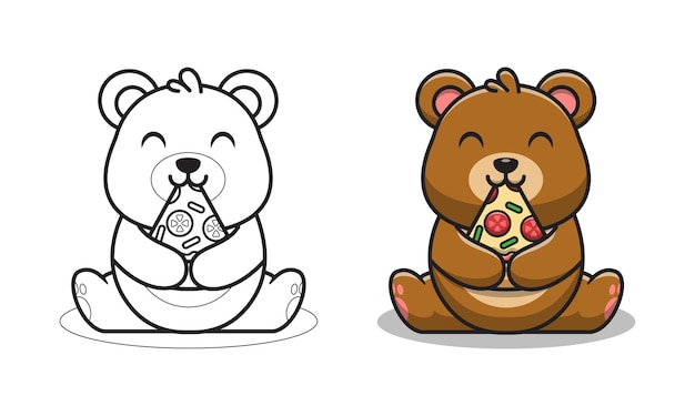 Cute bear eating pizza cartoon coloring pages for kids