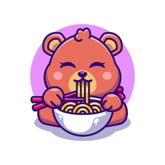 Милый медведь ест рамэн с мультфильмом палочки для еды