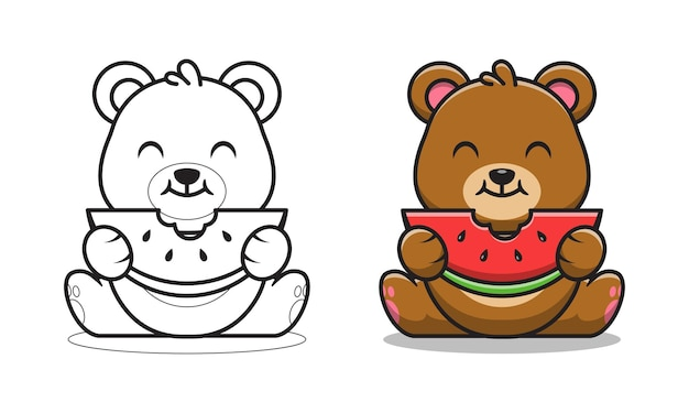 Cute bear eating watermelon cartoon for coloring