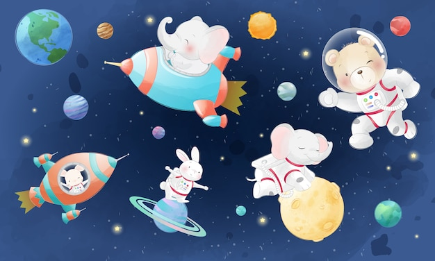 Cute bear, elephant and bunny in the galaxy