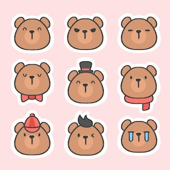 Cute bear emoticon sticker hand drawn cartoon collection