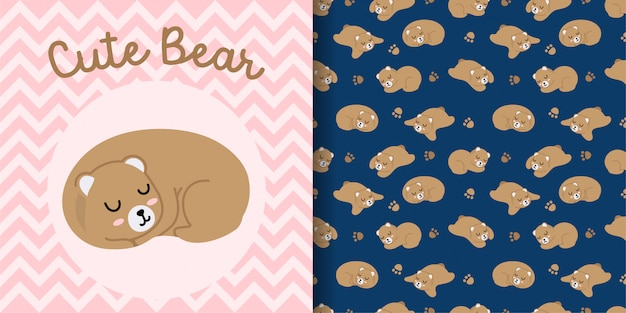 Cute bear face animal seamless pattern with baby card