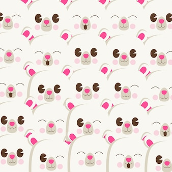 Cute bear face pattern background