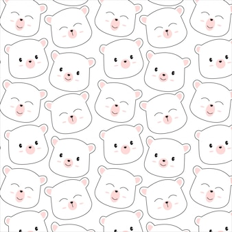Cute bear face pattern vector background