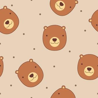 Cute bear face seamless pattern vector