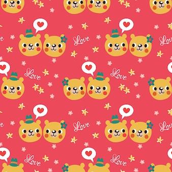Cute bear face seamless pattern.