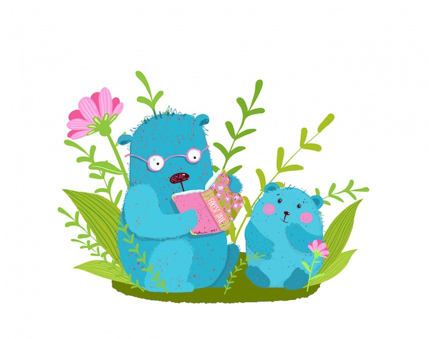 Cute bear family reading book studying and teaching in nature.