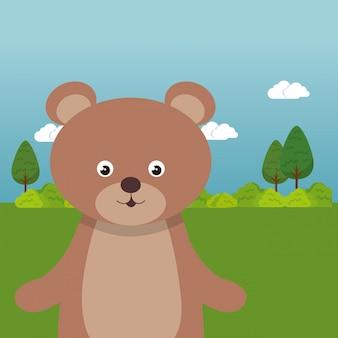 Cute bear in the field landscape character