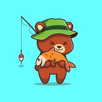 かわいいクマ釣りアイコンイラスト。分離された動物アイコンコンセプト。フラット漫画スタイル