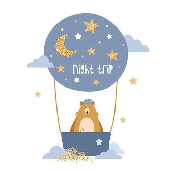 Cute bear flies on a hot air balloon.