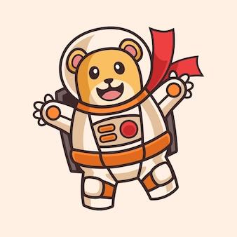 宇宙飛行士の衣装の漫画のキャラクターに浮かぶかわいいクマ