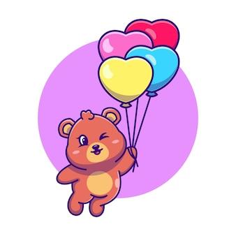풍선 만화에 떠있는 귀여운 곰