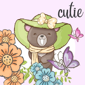 Cute bear in flower frames hand drawn animal