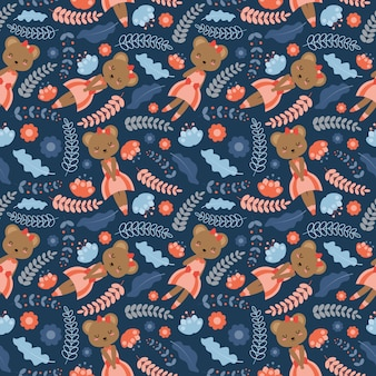 Cute bear and flowers cartoon pattern on blue background