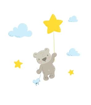 스타 풍선에 귀여운 곰