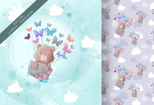 Cute bear flying with butterfly seamless pattern