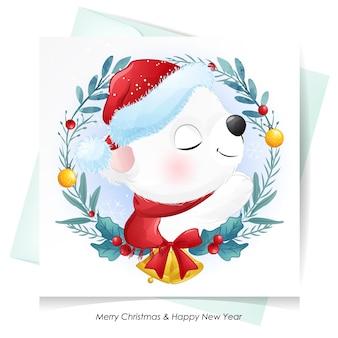 水彩カードでクリスマスのためのかわいいクマ