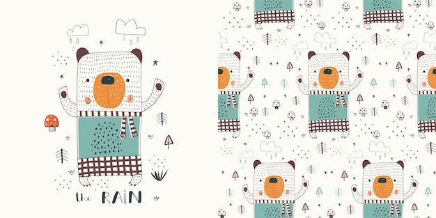 Cute bear in the forest hand drawn color character scandinavian illustration poster with seamless