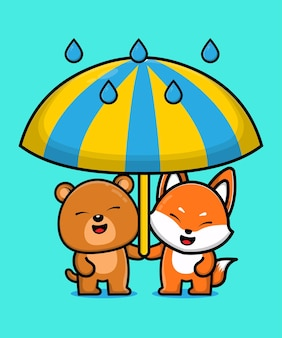 Cute bear and fox animal friend cartoon illustration