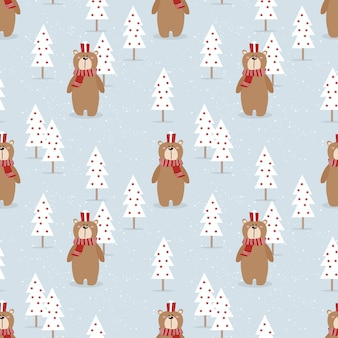 Cute bear and gift in christmas season seamless pattern