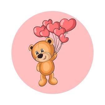 かわいいクマの贈り物愛バルーンイラスト