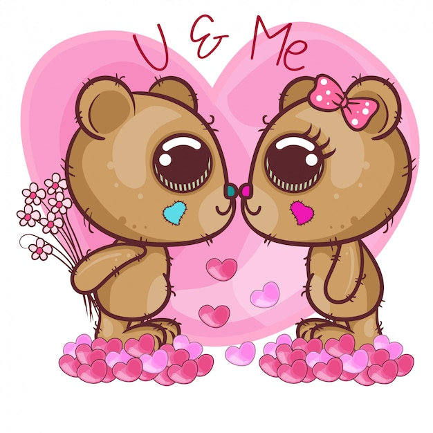 Cute bear girl and boy with hearts - illustration