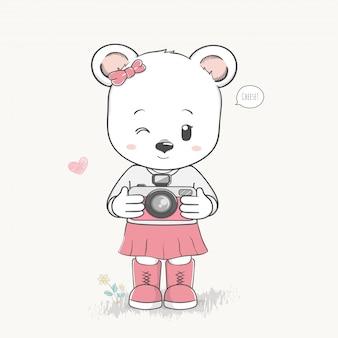 Cute bear girl take a photo cartoon hand drawn vector