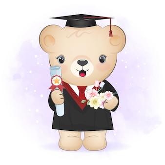 Cute bear in graduation costume cartoon illustration
