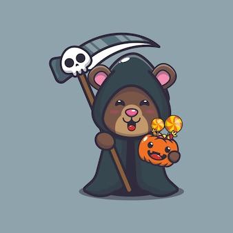 Cute bear grim reaper holding halloween pumpkin cute halloween cartoon illustration