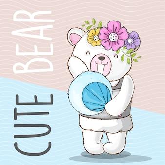 Cute bear hand drawn animal-vector