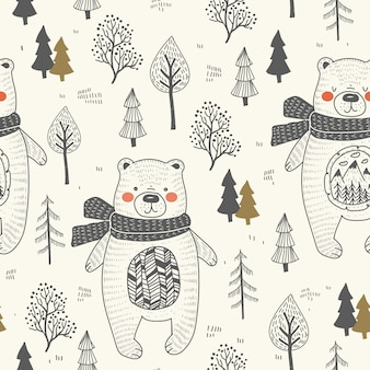 Cute bear hand drawn forest seamless pattern.