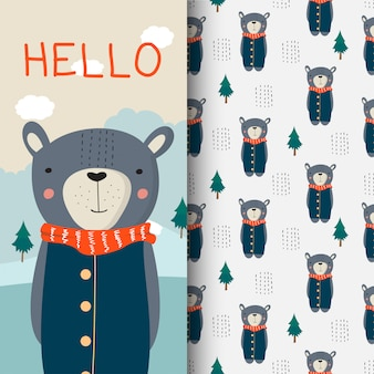 Cute bear hand drawn illustration