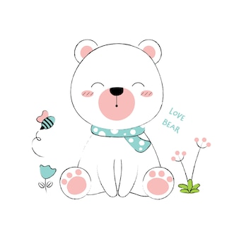 Cute bear hand drawn style