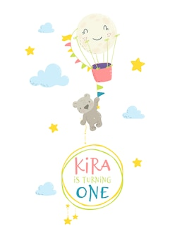 Cute bear hanging on hot air balloon with invitation frame