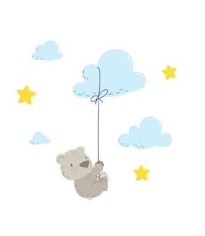 雲の風船にぶら下がっているかわいいクマ Premiumベクター
