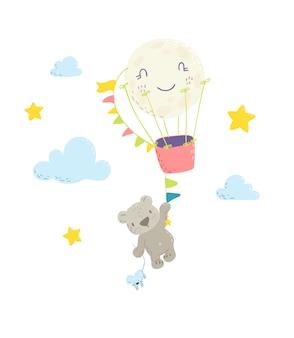 뜨거운 공기 풍선에 매달려 귀여운 곰