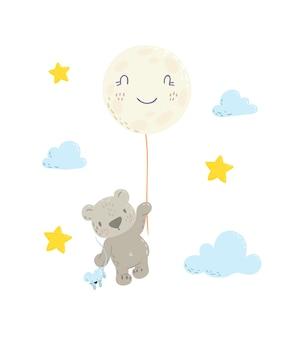 月風船にぶら下がっているかわいいクマさん