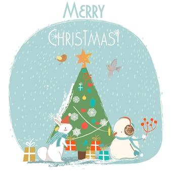 Милый медведь, заяц и лиса - рождественская векторная открытка