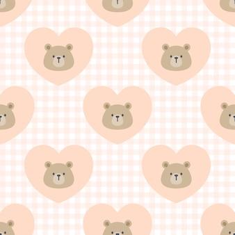 Симпатичные сердца медведя бесшовный фон фон